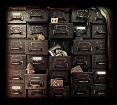 """Homage to Lauren,"" by jim downie, via Flickr -- Card-catalog-like chest."