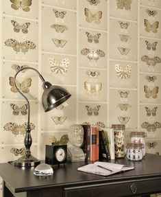 Papilio - Neutral : Wallpaper and wallcoverings from Holden Decor Ltd. Hall Wallpaper, Interior Wallpaper, Print Wallpaper, Fabric Wallpaper, Pattern Wallpaper, Neutral Wallpaper, Oak Panels, Inspirational Wallpapers, Barbie Dream House