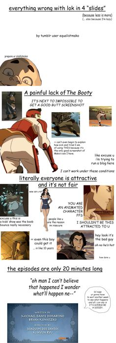 "Everything ""wrong"" with Legend of Korra.  Funny.  Source:  equalistmako"