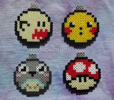 Get your holiday geek on with this set of four Perler bead Christmas tree ornaments. Each set includes one Mario ghost, Totoro, Pikachu, and