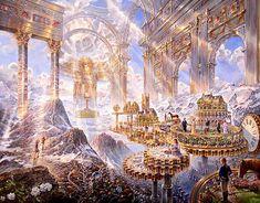 Visionary landscapes of John Stephens - Andrei Verner Fantasy City, Fantasy Castle, Fantasy Places, Fantasy Kunst, Fantasy World, Fantasy Art Landscapes, Fantasy Landscape, Cool Landscapes, Fantasy Artwork