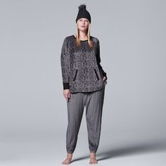 Plus Size Simply Vera Vera Wang Pajamas: Weekend Retreat Top, Jogger Pants & Hat PJ Set