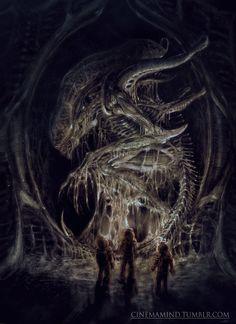 Dead Xenomorph, David Romero on ArtStation at https://www.artstation.com/artwork/mlY0Y