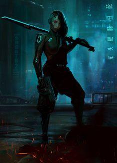 Cyberpunk girl by Alexander Kretov Cyberpunk City, Cyberpunk Kunst, Cyberpunk Aesthetic, Sci Fi Characters, Girls Characters, Character Inspiration, Character Art, Crea Design, Ex Machina