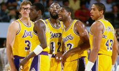 Kurt Rambis, Michael Cooper, James Worthy, Magic Johnson and Mychal Thompson Basketball Legends, Sports Basketball, Basketball Players, Basketball History, Basketball Stuff, Basketball Quotes, Soccer, Dodgers, Lakers Team