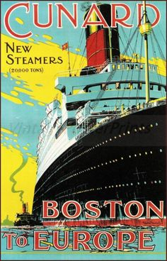 Art Poster: Vintage Poster Print Cunard Line 1900 Boston To Europe New Steamers Retro Art