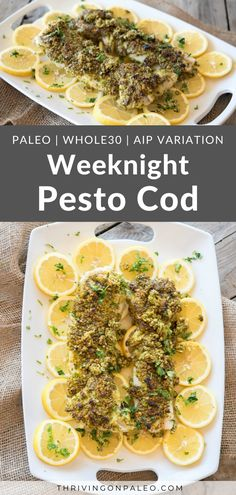 Get dinner on the table in less than 15 minutes with this recipe for a delicious broiled cod. It's Paleo, Whole30, and can be made AIP easily Fish Recipes, Meat Recipes, Seafood Recipes, Paleo Recipes, Food Processor Recipes, Cod Dishes, Main Dishes, Quick Easy Dinner