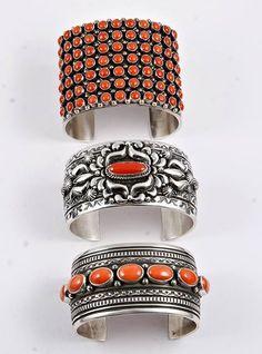 San Francisco House Coral Native American Cuff Bracelets.