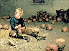 Bit of fun: a boy making lanterns from turnips, by the 19th-century ...