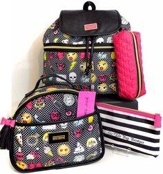 Betsey Johnson Emoji Travel School Backpack Makeup TrainCase Lunch Bag 4pc Set  #BetseyJohnson #Backpack