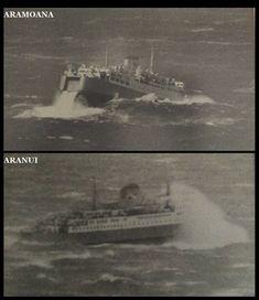 the Aramoana & the Aranui taken in the . Model Boat Plans, Merchant Navy, Kiwiana, Old Buildings, British Isles, Old Photos, New Zealand, 1970s, Boats