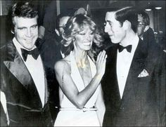 Lee Majors and his wife Farrah Fawcett Majors meeting Prince Charles on his visit to Hollywood