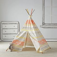 Everyone needs a little space just for themselves. This geometric kids teepee is the perfect home away from home while trailblazing the playroom frontier. Squeaker definitely needs one of these for her room.  hintafflink