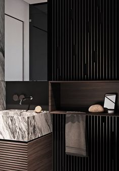 Marble and dark wood effect