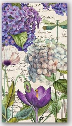 Purple Hydrangea Print - Calligraphy and Flowers Floral Vintage Collage Country Cottage Home Decor Creative collage art. Decoupage Vintage, Vintage Collage, Vintage Ephemera, Vintage Cards, Vintage Prints, Collage Art, Vintage Paper Crafts, Collage Sheet, Art Floral