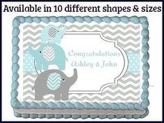 Elephant themed baby shower sheet cake Baby shower cakes