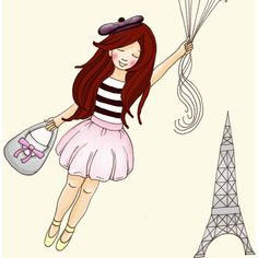 Girl in Paris, Bon Voyage, kids wall art, yellow balloons, pink grey... ($30) ❤ liked on Polyvore