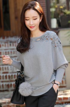 Latest Stylish Knit Tops for a Casual Daily Look - lilostyle Teen Fashion Outfits, Fashion Dresses, Stylish Tops For Women, Fancy Tops, Dresses With Leggings, Suzy, Vintage Tops, Blouses For Women, Korea