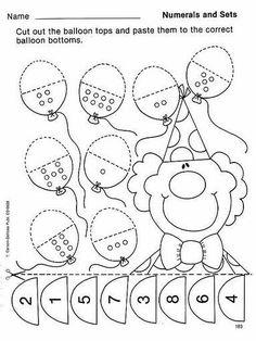 activities for kids to print Preschool Kindergarten, Preschool Worksheets, Teaching Math, Preschool Circus, Pre K Activities, Preschool Activities, Theme Carnaval, Math Numbers, Homeschool Math