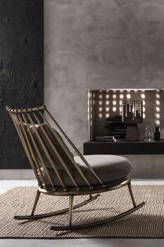 Discover the Luxury Italian Designer Brass Rocking Chair at Juliettes Interiors. Italian Furniture, Luxury Furniture, Furniture Design, French Interior, Interior Design, Black Couches, Chic Living Room, Steel Furniture, Luxury Living