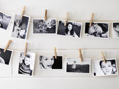 "Easy Art Projects: Use clothespins to hold 4"" x 6"" black-and-white photos on white cotton rope. No need for frames! http://www.hgtv.com/decorating-basics/the-abcs-of-diy-decorating/pictures/page-2.html"