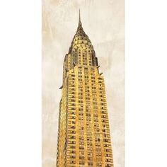 Posterazzi Gilded Skyscraper I Canvas Art - Joannoo (24 x 48)