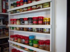 DIY Pantry Spice Rack – Home Staging In Bloomington Illinois Kitchen Pantry Design, Diy Kitchen Storage, Pantry Storage, Pantry Organization, Organized Pantry, Kitchen Ideas, Pantry Ideas, Organizing Ideas, Kitchen Updates