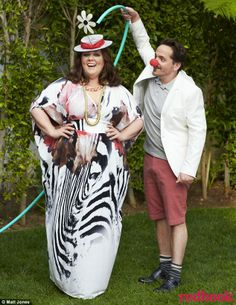 Melissa McCarthy Goofing around: The pair, who have been married for eight years, tried on different comedic props