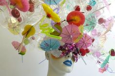 Artist Zoe Bradley has created some unique headpieces using items like straws, rubik's cubes, and...