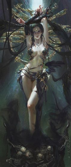 A fantasy rendition of Kali. She stands upon an altar of skulls and skeletons. The protruding pieces behind her, almost like an exquisite head dress, are also reminiscent of Kali's many arms, and she raises her own arms among them. The Morrigan - the Celtic equivalent of Kali as Dark Goddess - is also called forth with raven feathers.