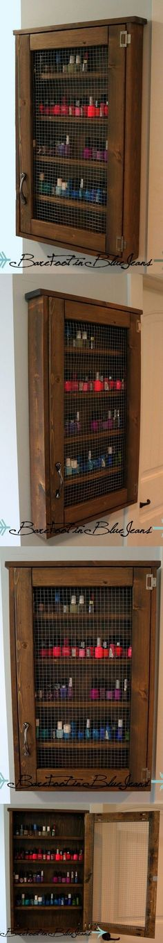 Easy Peasy #diy nail polish cabinet. I want this for a spice cabinet.