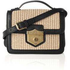 a207722fcd61 Alexander McQueen Raffia and leather mini shoulder bag - Polyvore Bolsos De  Cuero
