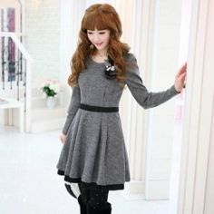 I joined @Sammydress fall wardrobe # contest   Cute Scoop Neck Solid Color Waisted Ruffles Colormatching Grey Long Sleeves Worsted Dress For Women