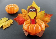 If you're looking for fun Thanksgiving crafts for kids this easy turkey craft is sure to be a hit! All you need to make this Thanksgiving craft is a mini pumpkin and some fall leaves. Thanksgiving Crafts For Toddlers, Thanksgiving Crafts For Kids, Thanksgiving Activities, Fall Crafts, Halloween Crafts, Holiday Crafts, Thanksgiving Turkey, Thanksgiving Pictures, Fall Preschool