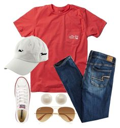 """12.11.15- high of 74??☀️"" by preppycarolinacutie ❤ liked on Polyvore featuring American Eagle Outfitters, Ray-Ban, Converse, Links of London and Vineyard Vines"