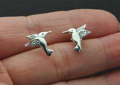 Hummingbird Earrings Hummingbird studs sterling silver Bird Studs Bird post earrings spring bird studs, Cartilage, Helix. Tragus