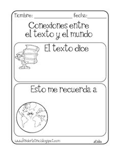 Free Text to World Connection Printable by Lidia Barbosa Comprehension Strategies, Reading Strategies, Reading Comprehension, Bilingual Classroom, Bilingual Education, Classroom Freebies, Spanish Classroom, Classroom Ideas, Reading Lessons