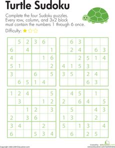 Complete this Sudoku puzzle with the help of a turtle friend! Third grade mathematicians will use their logical reasoning skills to solve Sudoku number puzzles. Sudoku Puzzles, Logic Puzzles, Number Puzzles, Math Games, Math Activities, Logic And Critical Thinking, Coding For Kids, Math Notebooks, Homeschool Math