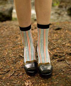 rainbow stripe socks with heels. #styleeveryday