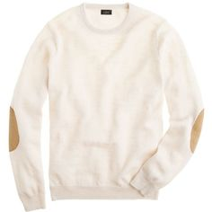 J.Crew Slim rustic merino elbow-patch sweater ($80) ❤ liked on Polyvore featuring mens, men's clothing, men's sweaters, sweaters, tops and shirts