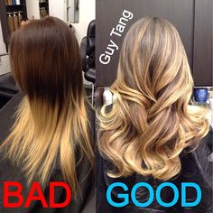 Ombre Hair - The difference between dip dye and ombré ! Dip dye is a bad trend that needs to go away and ombré is natural gradient tonal effect that is here to stay! It mimics natures way of highlighting the hair as if the hair has been sun washed! Think Victoria Secret sexy! It's wearable to work and contours the layers in your hair cut and design ! Its already a staple in fashion and it's low maintenance, classy, flirty, fun and what girl doesn't want that!?