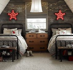 """looking for decoration ideas for your bedroom? Here we bring to you a collection of beautiful Christmas Bedroom Decoration Ideas"""" for your inspiration. Home Bedroom, Kids Bedroom, Bedroom Decor, Bedroom Ideas, Kids Rooms, Attic Bedrooms, Design Bedroom, Sibling Bedroom, Star Bedroom"""