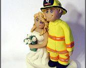Firefighter Wedding Cake Topper - Rescue. $75.00, via Etsy.