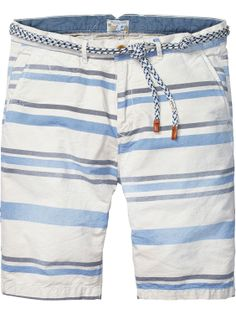 Shorts chinos de hilo teñido con estampado de rayas | Shorts | Ropa para hombre en Scotch  Soda