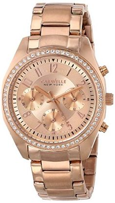 Caravelle New York Womens 44L117 Analog Display Japanese Quartz Rose Gold Watch *** You can get more details by clicking on the image.