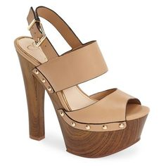 "Jessica Simpson 'Dallis' Platform Sandal, 6"" heel (€59) ❤ liked on Polyvore featuring shoes, sandals, heels, обувь, ambra, high platform shoes, high heel slingbacks, jessica simpson sandals, leather buckle sandals and jessica simpson shoes"