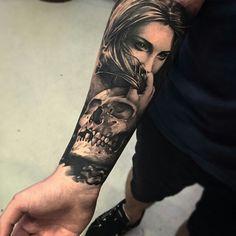 Black and grey woman and skull half sleeve tattoo!