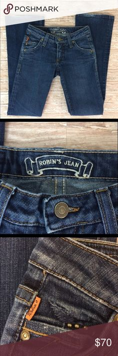 🇱🇷✨Robin's Jeans✨🇺🇸 size 23 **((Robin's Jeans))** Authentic | blue stretchy denim jeans- size 23. Made in USA 🇺🇸. Rise 6.5 inches, 28.5 inseam, 36 outseam, 7 3/4 thigh, 8 inch leg opening at bottom. Great condition! Normal wear around bottom of jeans, no rips, tears, stains or pet odors. Love it?? Make me an offer!! Thanks for shopping my closet <3 Robin's Jean Jeans Flare & Wide Leg