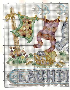 Laundry day cross stitch chart, pin 2 of 2