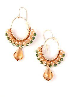 Beaded hoop earrings / Crystal Hoop Earrings / by Ranitit on Etsy